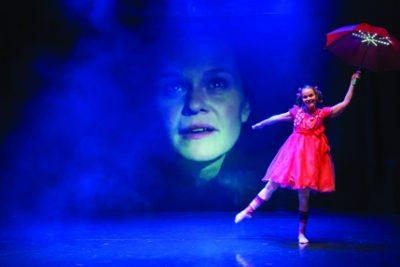 Kuva Tanssiteatteri Raatikon esityksestä Unikon satuja, näyttämöllä Elina Saavalainen, taustalla Elisa Salo. Kuvaaja Matti Rajala.